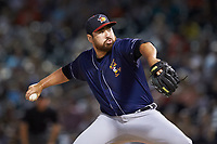 Toledo Mud Hens relief pitcher Kevin Comer (59) in action against the Charlotte Knights at BB&T BallPark on June 22, 2018 in Charlotte, North Carolina. The Mud Hens defeated the Knights 4-0.  (Brian Westerholt/Four Seam Images)