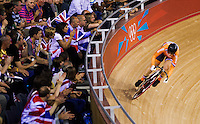 06 AUG 2012 - LONDON, GBR - Kirsten Wild (NED) of the Netherlands warms up for her Flying Lap during the first day of the Women's Omnium in the London 2012 Olympic Games track cycling at the Olympic Park Velodrome in Stratford, London, Great Britain (PHOTO (C) 2012 NIGEL FARROW)