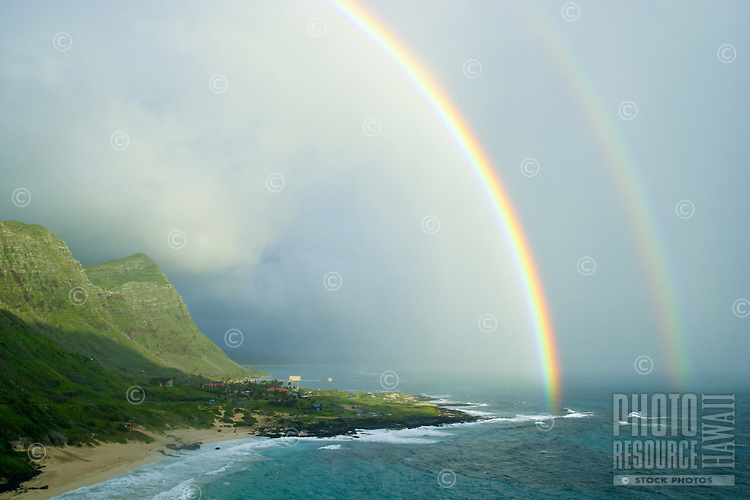 An early morning rainstorm helps to create a spectacular Hawaiian Rainbow near Makapuu Beach Park,Oahu.
