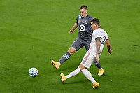 ST PAUL, MN - SEPTEMBER 27: Aaron Herrera #22 of Real Salt Lake passes the ball during a game between Real Salt Lake and Minnesota United FC at Allianz Field on September 27, 2020 in St Paul, Minnesota.