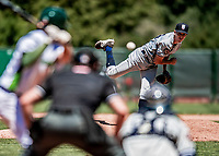 19 July 2018: Staten Island Yankee pitcher Christian Morris on the mound against the Vermont Lake Monsters at Centennial Field in Burlington, Vermont. The Lake Monsters edged out the Yankees 2-1 in NY Penn League action. Mandatory Credit: Ed Wolfstein Photo *** RAW (NEF) Image File Available ***