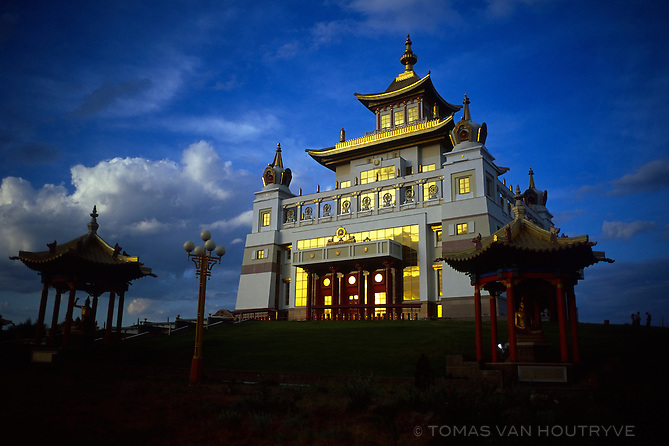 The main Buddhist temple of Elista, know locally as a khurul is seen at the end of the day in Elista, Republic of Kalmykia, Russian Federation on May 10, 2010.