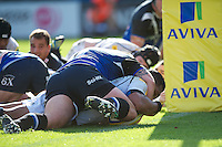 Johnny Leota of Sale Sharks scores a try during the Aviva Premiership match between Bath Rugby and Sale Sharks at the Recreation Ground on Saturday 29th September 2012 (Photo by Rob Munro)
