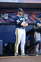 Michigan Wolverines head coach Erik Bakich (23) during the second game of a doubleheader against the Canisius College Golden Griffins on February 20, 2016 at Tradition Field in St. Lucie, Florida.  Michigan defeated Canisius 3-0.  (Mike Janes/Four Seam Images)