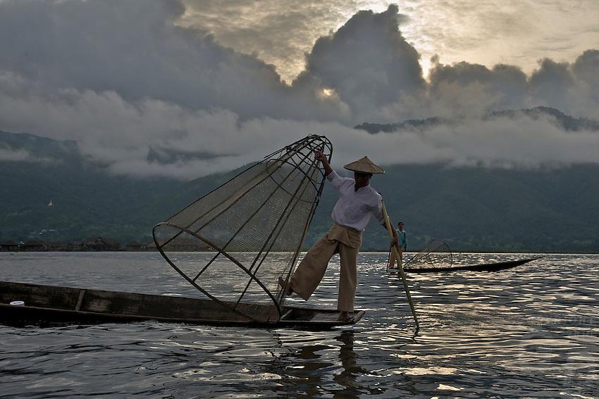 Inle Lake traditional Fisherman, Shan State, Myanmar