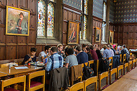 UK, England, Cambridge.  Corpus Christi Dining Hall at Lunch.