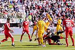 Jackson Irvine of Australia fights for the ball with goalkeeper Rami Hamada of Palestine during the AFC Asian Cup UAE 2019 Group B match between Palestine (PLE) and Australia (AUS) at Rashid Stadium on 11 January 2019 in Dubai, United Arab Emirates. Photo by Marcio Rodrigo Machado / Power Sport Images
