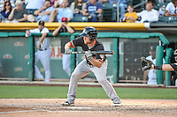 Nolan Fontana (9) of the Fresno Grizzlies squares to bunt against the Salt Lake Bees in Pacific Coast League action at Smith's Ballpark on June 13, 2015 in Salt Lake City, Utah.  (Stephen Smith/Four Seam Images)