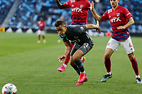 SAINT PAUL, MN - MAY 15: Hassani Dotson #31 of Minnesota United FC looks towards the ball during a game between FC Dallas and Minnesota United FC at Allianz Field on May 15, 2021 in Saint Paul, Minnesota.