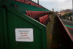 Glentoran 2 Cliftonville 1, 22/10/2016. The Oval, NIFL Premiership. A safety notice in the main stand at The Oval, Belfast, pictured before Glentoran hosted city-rivals Cliftonville in an NIFL Premiership match. Glentoran, formed in 1892, have been based at The Oval since their formation and are historically one of Northern Ireland's 'big two' football clubs. They had an unprecendentally bad start to the 2016-17 league campaign, but came from behind to win this fixture 2-1, watched by a crowd of 1872. Photo by Colin McPherson.