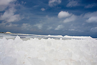 Crystals of salt at the salt flats of Pekelmeer, Bonaire Island, Netherland Antilles, Caribbean, Atlantic Ocean