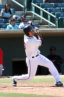 Jio Mier #5 of the Lancaster JetHawks bats against the Lake Elsinore Storm at Clear Channel Stadium on April 15, 2012 in Lancaster,California. Lake Elsinore defeated Lancaster 7-5.(Larry Goren/Four Seam Images)
