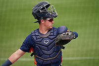 Houston Astros catcher Michael Papierski (74) during a Major League Spring Training game against the Miami Marlins on March 21, 2021 at Roger Dean Stadium in Jupiter, Florida.  (Mike Janes/Four Seam Images)