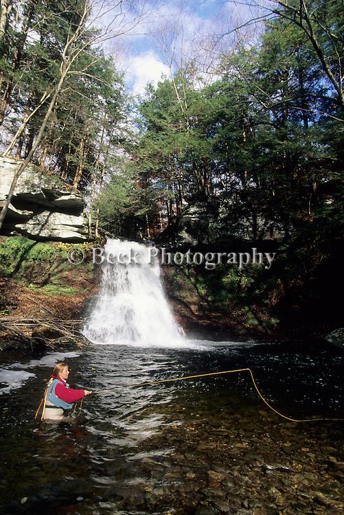 Fly fishing at Sullivan Falls, PA
