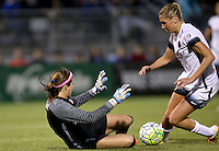 Boyds, MD - Saturday May 07, 2016: Washington Spirit goalkeeper Stephanie Labbe (1) dives at the feet of Portland Thorns FC midfielder Allie Long (10) during a regular season National Women's Soccer League (NWSL) match at Maureen Hendricks Field, Maryland SoccerPlex. Washington Spirit tied the Portland Thorns 0-0.