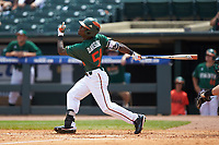 James Davison (51) of the Miami Hurricanes follows through on his swing against the Wake Forest Demon Deacons in Game Nine of the 2017 ACC Baseball Championship at Louisville Slugger Field on May 26, 2017 in Louisville, Kentucky. The Hurricanes defeated the Demon Deacons 5-2. (Brian Westerholt/Four Seam Images)