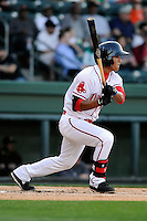 Infielder/shortstop Tzu-Wei Lin (36) of the Greenville Drive bats in a game against the Kannapolis Intimidators on Friday, April 11, 2014, at Fluor Field at the West End in Greenville, South Carolina. Lin is the No. 28 prospect of the Boston Red Sox, according to Baseball America. (Tom Priddy/Four Seam Images)