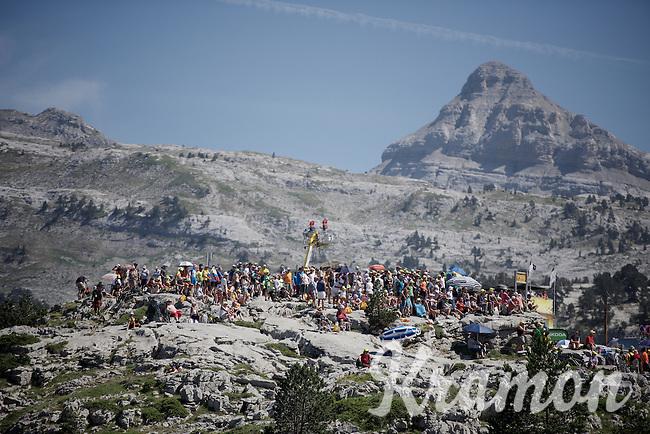 crowds up the rocks of the Col de Soudet (HC/1610m/15.3km/7.4%) waiting for the riders to come up<br /> <br /> stage 10: Tarbes - La Pierre-Saint-Martin (167km)<br /> 2015 Tour de France