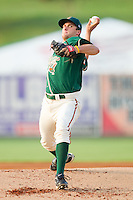 Starting pitcher Robert Morey #24 of the Greensboro Grasshoppers in action against the Kannapolis Intimidators at Fieldcrest Cannon Stadium August 2, 2010, in Kannapolis, North Carolina.  Photo by Brian Westerholt / Four Seam Images