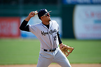 Kane County Cougars third baseman Ramon Hernandez (19) throws to first base during a game against the South Bend Cubs on May 3, 2017 at Four Winds Field in South Bend, Indiana.  South Bend defeated Kane County 6-2.  (Mike Janes/Four Seam Images)