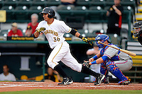 Bradenton Marauders first baseman Jose Osuna #36 at bat in front of catcher Cam Maron during a game against the St. Lucie Mets on April 12, 2013 at McKechnie Field in Bradenton, Florida.  St. Lucie defeated Bradenton 6-5 in 12 innings.  (Mike Janes/Four Seam Images)