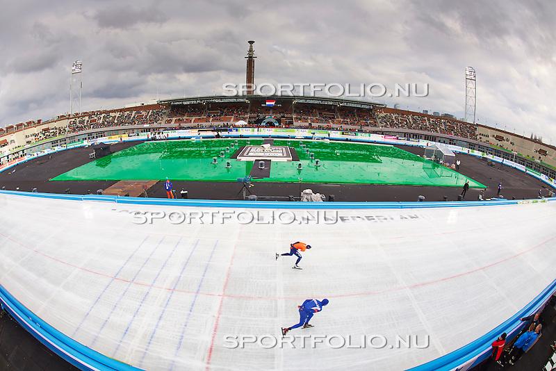 Nederland, Amsterdam, 1 maart 2014<br /> NK Allround en Sprint<br /> In het Olympisch Stadion is een ijsbaan aangelegd voor het NK Allround en Sprint