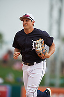 Detroit Tigers center fielder Mikie Mahtook (8) jogs back to the dugout during a Grapefruit League Spring Training game against the New York Yankees on February 27, 2019 at Publix Field at Joker Marchant Stadium in Lakeland, Florida.  Yankees defeated the Tigers 10-4 as the game was called after the sixth inning due to rain.  (Mike Janes/Four Seam Images)