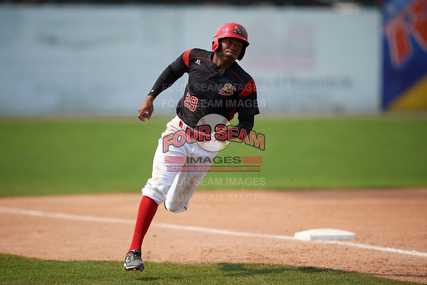 Batavia Muckdogs left fielder Thomas Jones (29) rounds third to score a run during the first game of a doubleheader against the Mahoning Valley Scrappers on September 4, 2017 at Dwyer Stadium in Batavia, New York.  Mahoning Valley defeated Batavia 4-3.  (Mike Janes/Four Seam Images)