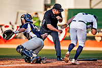 12 June 2021: Umpire Larry Garcia makes a call at home plate during a game between the Westfield Starfires and the Vermont Lake Monsters at Centennial Field in Burlington, Vermont. The Lake Monsters defeated the Starfires 4-1 at Centennial Field, in Burlington, Vermont. Mandatory Credit: Ed Wolfstein Photo *** RAW (NEF) Image File Available ***