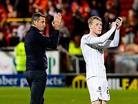 23rd September 2021;  Tannadice Park, Dundee, Scotland: Scottish League Cup football, Dundee United versus Hibernian: Jack Ross Hibernian Manager and Jake Doyle-Hayes of Hibernian applaud fans at full time