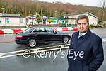 Fossa NS school principal John Burke stands outside the school where the proposed pedestrian crossing will be placed,