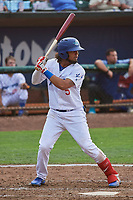 Ronny Brito (5) of the Ogden Raptors bats against the Idaho Falls Chukars at Lindquist Field on July 2, 2018 in Ogden, Utah. The Raptors defeated the Chukars 11-7. (Stephen Smith/Four Seam Images)