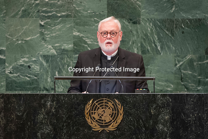 General Assembly: 16th meeting<br /> <br /> <br /> His Excellency Archbishop Paul  Richard GALLAGHER Secretary for Relations with States of the Holy See