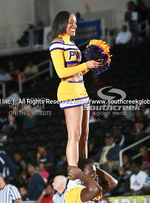A Prairie View A & M Panthers cheerleader in action during the SWAC Tournament game between the Prairie View A & M Panthers and the Jackson State Tigers at the Special Events Center in Garland, Texas. Jackson State defeats Prairie View A & M 50 to 38.