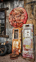 Vintage Vignette - Rusty gas pumps and Coca-Cola sign. Nevada