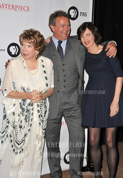 Shirley MacLaine, Hugh Bonneville & Elizabeth McGovern at photocall for the third series of Downton Abbey at the Beverly Hilton Hotel..July 22, 2012  Los Angeles, CA.Picture: Paul Smith / Featureflash