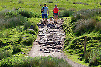 Pictured: A man and a woman walk on one of the paths leading to Pen-y-Fan, one of the Brecon Beacons summits near Storey Arms in the Brecon Beacons, Wales, UK. Sunday 13 June 2021<br /> Re: High temperatures and sunshine has been forecast for most of the UK.