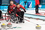 Sochi, RUSSIA - Mar 7 2014 -  Dennis Thiessen and Mark Ideson of Canada's Wheelchair Curling Team trains before the Sochi 2014 Paralympic Winter Games in Sochi, Russia.  (Photo: Matthew Murnaghan/Canadian Paralympic Committee)