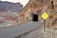 Road on the Qwyhee River with tunnel. Oregon