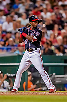 21 September 2018: Washington Nationals outfielder Victor Robles in action against the New York Mets at Nationals Park in Washington, DC. The Mets defeated the Nationals 4-2 in the second game of their 4-game series. Mandatory Credit: Ed Wolfstein Photo *** RAW (NEF) Image File Available ***