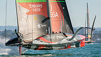 13th March 2021; Waitemata Harbour, Auckland, New Zealand;  Emirates Team New Zealand rounds the top mark well ahead of Luna Rossa Prada Pirelli Team in race six on day three of the America's Cup presented by Prada.