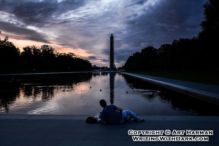 """""""Romantic Evening"""" at the Reflecting Pool in Washington DC by Art Harman. As the sun set, serendipity revealed a couple enjoying the sunset glow."""