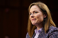 United States Supreme Court nominee Amy Coney Barrett speaks during a confirmation hearing before the Senate Judiciary Committee, Wednesday, Oct. 14, 2020, on Capitol Hill in Washington. <br /> CAP/MPI/RS<br /> ©RS/MPI/Capital Pictures