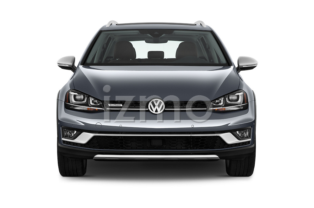 Car photography straight front view of a 2017 Volkswagen Golf-Alltrack SEL 5 Door Wagon Front View