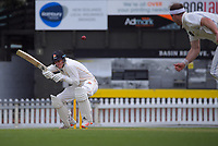 Finn Allen ducks a bouncer from Michael Rae during day three of the Plunket Shield match between the Wellington Firebirds and Otago Volts at Basin Reserve in Wellington, New Zealand on Saturday, 7 November 2020. Photo: Dave Lintott / lintottphoto.co.nz