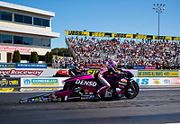 Sep 15, 2019; Mohnton, PA, USA; NHRA pro stock motorcycle rider Angie Smith during the Reading Nationals at Maple Grove Raceway. Mandatory Credit: Mark J. Rebilas-USA TODAY Sports