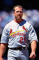 SAN FRANCISCO, CA - Mark McGwire of the St. Louis Cardinals stands on the field against the San Francisco Giants during a game at AT&T Park in San Francisco, California in 2000. Photo by Brad Mangin