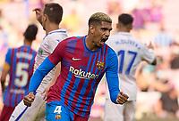 29th August 2021; Nou Camp, Barcelona, Spain; La Liga football league, FC Barcelona versus Getafe; Ronald Araujo of FC Barcelona celebrates the goal by Roberton in the 2nd minute