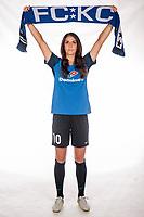 Leawood, Kansas - Thursday, April 13, 2017: Yael Averbuch at the FC Kansas City player studio photoshoot at the FCKC Headquarters.