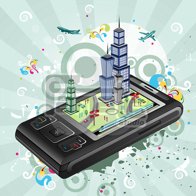 Illustrative representation showing the use of a mobile phone for planning travel